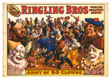 Ringling Bros - Army of 50 Clowns  1960