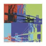 Brooklyn Bridge, vers1983 (orange, bleu, citron vert) Giclée par Andy Warhol