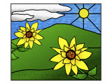 Stained Glass Sunflowers in the Sun
