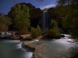 Lit Only by the Moon  Havasu Falls Thunders Through the Night