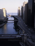 Chicago River Enters Lake Michigan with East Wacker Drive