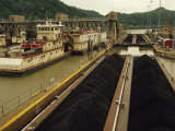 Coal Barge Entering a Lock System on the Kanawha River
