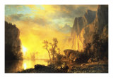 Coucher de soleil dans les Rocheuses Giclée premium par Albert Bierstadt