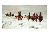 Perdu dans une tempête de neige-Nous sommes amis Giclée premium par Charles Marion Russell