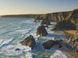 Evening Light on Rock Stacks  Beach and Rugged Coastline  Bedruthan Steps  North Cornwall  England