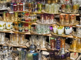 Glasses for Sale in the Souk  Medina  Marrakech (Marrakesh)  Morocco  North Africa  Africa