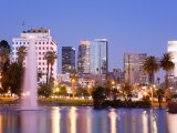 Macarthur Park Lake and City Skyline  Los Angeles  California  United States of America