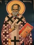 Greek Orthodox Icon Depicting St Nicholas  Thessaloniki  Macedonia  Greece  Europe