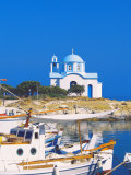 Fishing Boats with a Chapel in Background  Chios Island  Greek Islands  Greece  Europe