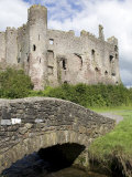 Castle and Footbridge  Laugharne  Carmarthenshire  South Wales  Wales  United Kingdom  Europe