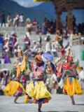 Dancers in Traditional Costume  Autumn Tsechu (Festival) at Trashi Chhoe Dzong  Bhutan  Asia