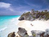 Mayan Ruins Overlooking the Caribbean Sea and Beach at Tulum  Yucatan Peninsula  Mexico