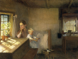 A Woman and Child in a Sunlit Interior  1889