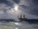 Sailing ship in the moonlight on a calm sea  1874