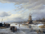 Frozen Winter Landscape with Figures  1846