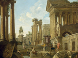 Architectural Capriccio with Ruins  Equestrian Statue of Marcus Aurelius and Figures by a Pool