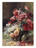 Vase with Peonies and a Basket with Flowers