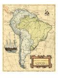 Carte Amérique du Sud Reproduction d'art