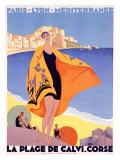 La plage de Calvi Giclée par Roger Broders