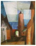 The Gruetz-Tower in Treptow at the Rega, 1928 Reproduction d'art par Lyonel Feininger