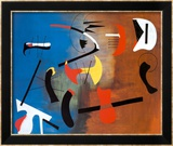 Peinture Composition Reproduction encadrée par Joan Miró