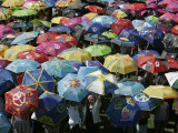 School Children Hold Up their Umbrellas after Taking Part in Umbrellas for Peace March  St Helena