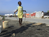 Youth Jumps Rope in a Camp for People Displaced by the Earthquake in Port-Au-Prince