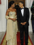 President Obama and First Lady before Welcoming India's Prime Minister and His Wife to State Dinner Papier Photo