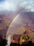 Double Rainbow Forms at Hopi Point  after a Rain Shower at Grand Canyon National Park in Arizona