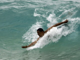 Presidential Candidate Senator Barack Obama  On Vacation  Body Surfing at a Beach  Honolulu  Hawaii