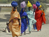 Chadian Refugees Walk Inside a Refugee Camp at the Border Town of Kousseri  Cameroon
