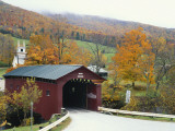 Covered Bridge in Autumn Landscape  Battenkill  Arlington Bridge  West Arlington  Vermont  USA
