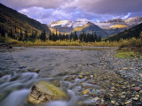 Mcdonald Creek and Garden Wall in Glacier National Park  Montana  USA
