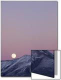 Full Moon Rising over Diamond Mountains with Snow  Great Basin  Eureka County  Nevada