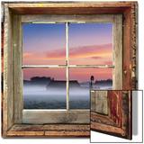 Farmyard Sunrise Viewed Through Old Window Frame