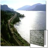 Freight Train Traveling Along Columbia River  Columbia River Gorge  Oregon  USA