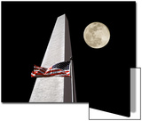 Collage of the Washington Monument  American Flag  and Moon
