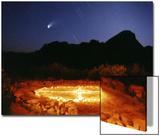Medicine Wheel with Night Sky  and Hale-Bopp Comet  Sedona  Arizona  USA