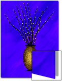 Sparkling Pussy Willow in Graphic Vase on Violet Background