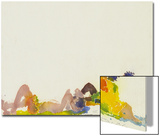 Watercolor Painting of Sunbathers on the Beach