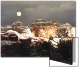 Moon Above Snow-Covered Boynton Canyon  Sedona  Arizona  USA