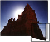 Silhouetted Deep Red Rock Spire  Bryce Canyon National Park  Utah  USA