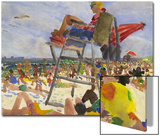 Watercolor Painting of a Beach Scene with Lifeguard