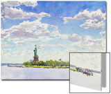 Watercolor Painting of a View of New York City Including the Statue of Liberty