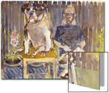 Watercolor Painting of a Man and Dog Sitting