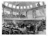 Engraving Showing a London County Council Meeting at Spring Gardens  1890