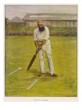 The Legendary Cricketer  Dr WG Grace Poised with His Bat
