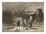Wassailing Apple Trees with Hot Cider in Devonshire on Twelfth Night Giclée