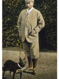 Edward VII Stands Regally with His French Bulldog