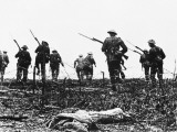 British Troops Advance Through Barbed Wire across No Mans Land